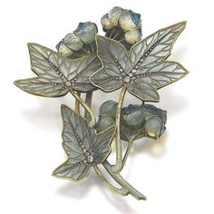 Ren Lalique Брошь, около 1900 г. Эмаль, алмазы, стекло, жемчуг