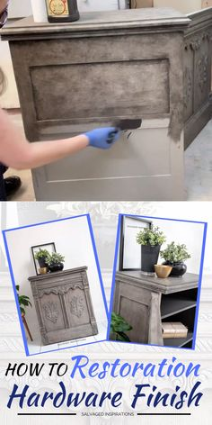 DIY RH Greige Finish Hi thanks for joining me! I'm excited to share today's makeover with you. This dated sewing cabinet has been reloved into a DIY Restoration Hardware Greige Finish using only. Diy Furniture Videos, Furniture Painting Techniques, Furniture Projects, Furniture Makeover, Cool Furniture, Bedroom Furniture, Dixie Furniture, Armoire Makeover, Dresser Makeovers