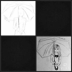 mädchen unter regenschirm