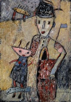 """JEAN BOCCACINO: """"ENFANT ET SA POUPEE """" acrylique sur registre sur Arches 32x21cm"""