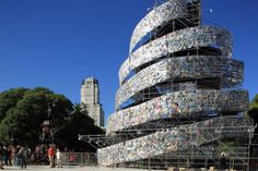Artwork: 'Babel Tower' made with books by Argentinean artist Marta Minujin (Not pictured) at a square of Buenos Aires, Argentina. The work, made out of books, was inaugurated to celebrate the appointment of Buenos Aires as 'World Book Capital by Unesco. Turm Von Babylon, The Library Of Babel, Tower Of Babel, Cool Books, Sculpture, The New Yorker, Architectural Elements, Installation Art, Making Out