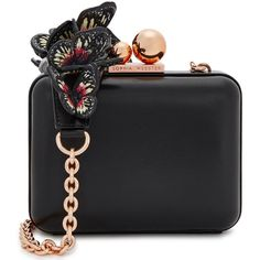 Sophia Webster Vivi Butterfly Black Leather Box Bag ($585) ❤ liked on Polyvore featuring bags, handbags, shoulder bags, butterfly purse, shoulder strap bags, butterfly handbag, chain strap purse and leather purses
