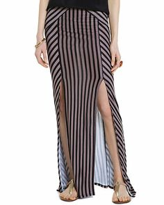 """Free People """"What's Your Angle?"""" Black & Taupe Stripe Maxi Skirt, 49.99$ from 108$"""