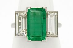 finish Estate Engagement Ring, Antique Engagement Rings, Emerald Cut Diamonds, Diamond Cuts, 3 Stone Rings, Colombian Emeralds, Jewelry Stores, Art Deco, Gemstones