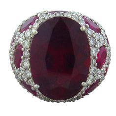 ASPREY Jubilee White Gold Rubellite Diamond Ring
