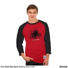 Free Style H95 Men's Champion 3/4 Sleeve Raglan T-Shirt (Color: Scarlet/Black)   #design #fashion #freestyle #men #raglan #tshirt