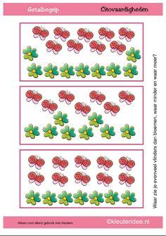 Waar zie je evenveel vlinders dan bloemen, waar minder, waar meer? [kleuteridee.nl]