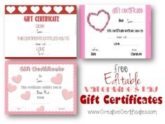 Valentine's Day Gift Certificates which can be personalized using the free certificate maker! Instant download with no need to register.