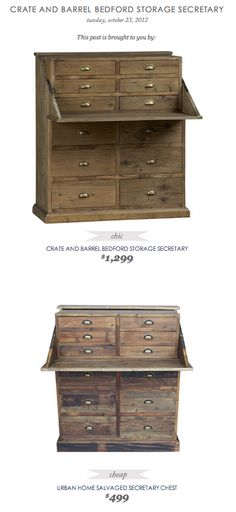 COPY CAT CHIC FIND: CRATE AND BARREL BEDFORD STORAGE SECRETARY VS URBAN HOME SALVAGED SECRETARY CHEST