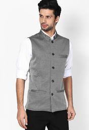 Even Striped Grey Nehru Jacket Online Shopping Store