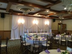 Backdrop with Chandeliers (Best Western-Galesburg) Chiavari Chairs, Charger Plates, Fine Linens, Best Western, Chair Covers, Event Decor, Chandeliers, Backdrops, Ceiling Lights