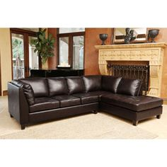 For Abbyson Living Charlie Top Grain Leather Sectional Sofa Get Free Shipping At