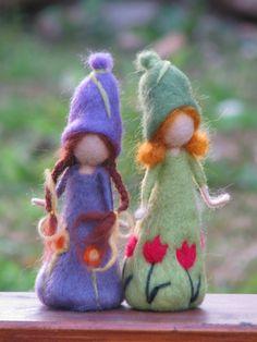 Items similar to Needle felted spring dolls waldorf inspired doll on Etsy Waldorf Crafts, Waldorf Dolls, Felt Angel, Felt Gifts, Needle Felting Tutorials, Felt Fairy, Flower Fairies, Little Doll, Fairy Dolls