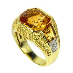 Shop for Sonia Bitton Yellow Gold Citrine, Yellow Sapphire and Diamond Ring. Get free delivery On EVERYTHING* Overstock - Your Online Jewelry Destination! Mens Diamond Jewelry, Mens Gemstone Rings, Mens Gold Rings, Rings For Men, Men's Jewelry Rings, Coin Jewelry, Lotus Jewelry, Jewelry Ideas, Jewellery