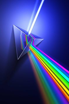 prism- When white light is refracted through a Prism it is split into visible rays of colors. The colors are made by light travelling at different frequencies.