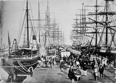 inch Photo Puzzle with 252 pieces. (other products available) - circa A busy harbour scene on the Hobson& Bay Railway Pier at Sandridge, Melbourne. (Photo by Hulton Archive/Getty Images) - Image supplied by Australian Views - Jigsaw Puzzle made in the USA Melbourne Victoria, Victoria Australia, South Australia, Rail Transport, Tall Ships, Heritage Image, Historical Photos, Old Photos, Sailing Ships