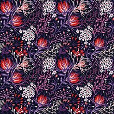 Vector collection of seamless patterns with exotic and fantasy plants. I wanted to create rich and wavy texture full of blooming  and a bit crazy flowers...