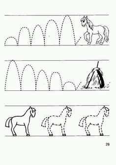 These prewriting sheets are from a Russian writing lesson. I thought it would be neat to share them with my American friends since they woul. Pre Writing, Writing Lessons, Tracing Worksheets, Worksheets For Kids, Tracing Pictures, Horse Therapy, Horse Coloring Pages, Pre K Activities, Cowboy Christmas