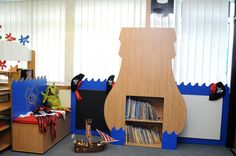 Our 'Pirate' themed furniture encourage your child to enjoy reading!Plenty of storage, seat & whiteboard & chalkboard School Furniture, Kids Furniture, Storage Shelves, Shelving, Pirate Theme, Storage Solutions, Your Child, Bookcase, Corner