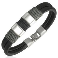 Modern Surfer Style Black Leather Men's Bracelet