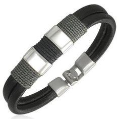 Modern Surfer Style Black Leather Men's Bracelet