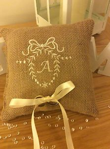 Personalised wedding ring cushion pillow burlap shabby chic embroidered initial. | eBay