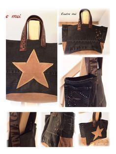 Nouvelle création ✨✨✨ Grand sac en jeans noir et daim beige , anses en cuir de vachette brune By L'autre moi