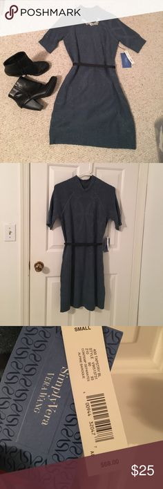 NWT Vera Weng Sweater Dress. Never worn. Beautiful Sweater dress. Has short sleeves and intricate pattern. Has an included ribbon belt that can be tied in front or in back. Looks great as is or with leggings or black tights. Listing is for dress only but necklace and booties are also for sale in my closet and I discount bundles.  Feel free to ask questions or make an offer! Vera Wang Dresses