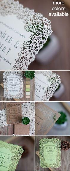 elegant laser cut wedding invitations #weddinginvitations as low as $1.35