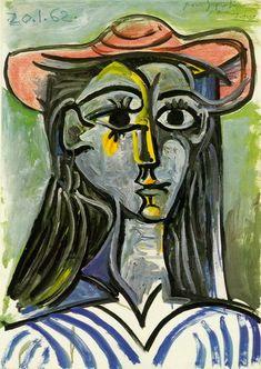 Pablo Picasso. Femme au chapeau (Buste). 1962 year