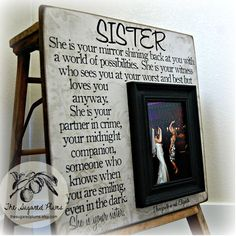 Sister Picture Frame Personalized Bridesmaid Gift Best Friend Maid Of