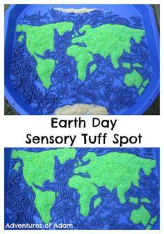 Earth Day Sensory Tuff Spot. Create your own sensory globe Tuff Spot to celebrate Earth Day.