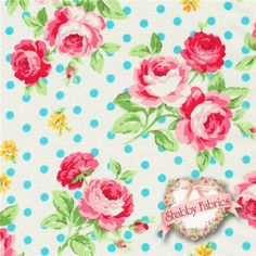 """Flower Sugar 30747-70 By Lecien: Flower Sugar 2013 is a collection by Lecien Fabrics.  100% cotton.  43/44"""" wide.  This fabric features pink rose bouquets tossed on an off white background with blue dots."""