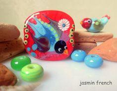 jasmin french ' swallow ' lampwork focal bead glass art set