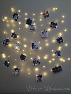 Mason FireFly Lights with Craft clips - Free Shipping! (picture frame vintage, photo string, picture frame collage, picture frame charm, fairy lights, wedding lights)