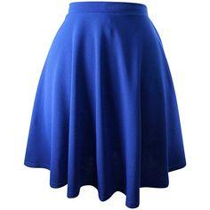 Royal Blue Flared Ponte Knit Skater Skirt ($25) ❤ liked on Polyvore featuring skirts, blue, skater skirt, circle skirt, flare skirt, royal blue skater skirt and knee length skirts