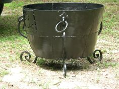 recycled burn bucket or planter