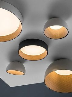 Lamps and Lighting– Home Decor : Duo ceiling fixtures in aluminum and oak by Vibia. Lamps and Lighting – Home Decor : Duo ceiling fixtures in aluminum and oak by Vibia. Ceiling Panels, Ceiling Light Fixtures, Light Fittings, Ceiling Lamps, Hallway Ceiling Lights, Cool Light Fixtures, Office Ceiling, Contemporary Light Fixtures, Ceiling Decor