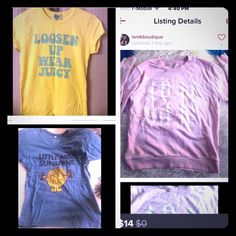 "3 Piece Bundle ☮Outspoken 3 piece fun bundle includes all of these. 1. (1) Sz.L Pink sweater that states,""AS IF."" Sz.L may fit a Sz.M. 2. (1) Sz.L (but has shrunk and can fit a Sz.S/M) Juicy Couture shirt 3. (1) Sz.L Little Miss. Sunshine shirt. GUC.☮ Tops"