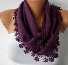 Purple Scarf    Pashmina Scarf   Headband Necklace by fatwoman, $13.50