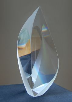 "Christopher Ries - ""White Lotus"", cut and polished optical glass"