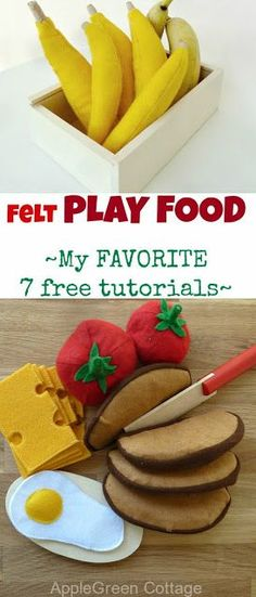 My 7 favorite FREE felt play food TUTORIALS for home-made felt fruit and vegetables.  Banana, carrots, broccoli, strawberries, pear, cheese, eggs and more. #freepattern #felt #sewing #sewingtutorial  #feltcraft #handmade #sewcialists #sewingforkids #toddler #preschool #craft