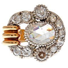 Rose Cut Diamond Rose Gold & Platinum Ring    1900