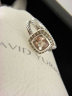 David Yurman Petite Albion Ring with Morganite and Diamonds SZ 5 #DavidYurman #Cocktail