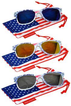 6058b6c55a23 Classic American Patriot Flag Sunglasses Blue YellowRed Silver Mirror Lens  USA American Flag Ice Denim Frame