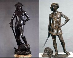 To the right: Donatello, David with the head of Goliath (about 1430-1440, bronze, height 158 ​​cm, Florence, Bargello National Museum). To the left: Andrea del Verrocchio, David with the head of Golia (circa 1475; bronze, height 126 cm; Florence, Bargello National Museum)