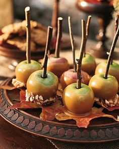 Bite-size Caramel Lady Apples on leaves
