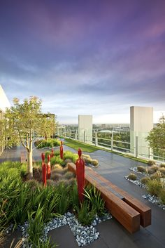 Penthouse garden with sculptural planting pocket breaking up terrace expanse(designed and built by Ecoform of Victoria. Terraced Landscaping, Modern Landscaping, Landscape Architecture, Landscape Design, Garden Design, Penthouse Garden, Pergola, Rooftop Patio, Roof Design