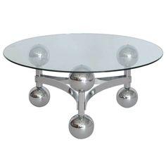 French Chrome Sputnik Table  41 inch diam.