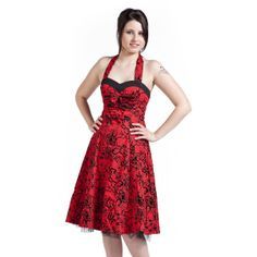 Vestido Rockabilly, Lolita, Pin Up  Red Flocking Long Dress por HR London $49.99 ( euros) en EMP Rock Mailorder España : La más grande venta por correo de Merchandising Oficial Musica Metal / Hard rock / Heavy / Gótico / Militar/ Lolita & Punk Style ..de Europa !